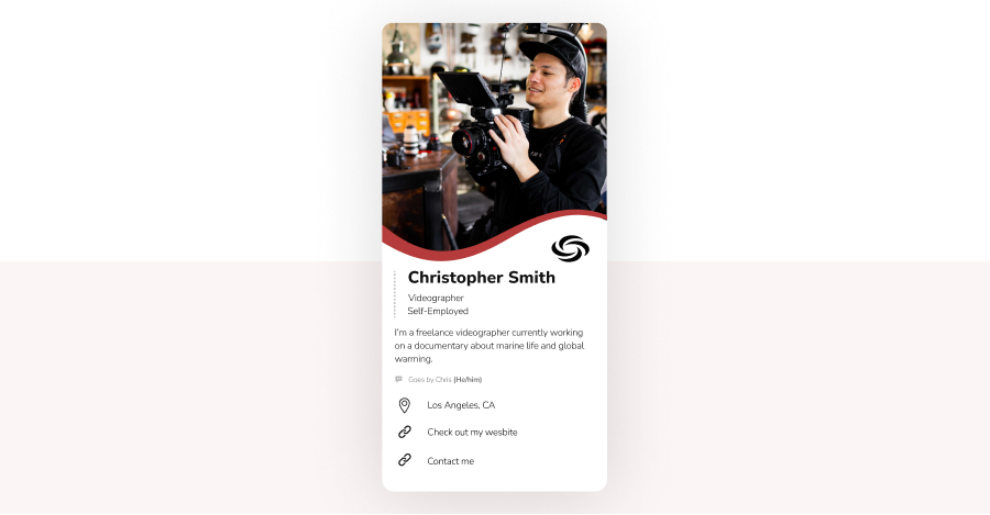 Example of a smart digital business card.