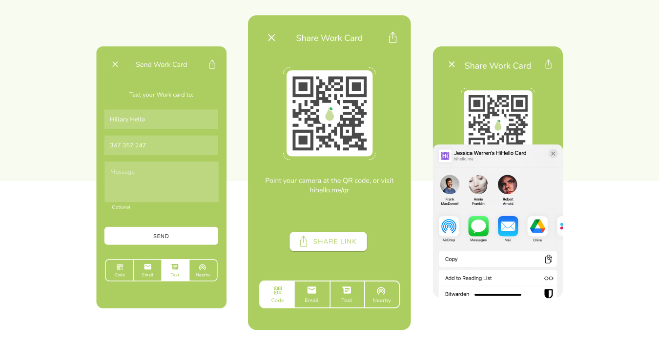 You can share your smart digital business card using a QR code, email, text message, and more.