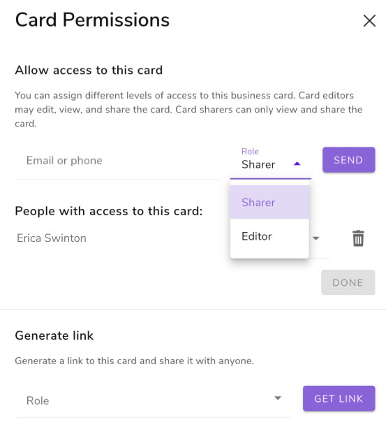 Set admin or sharer access at a card level on HiHello Business.