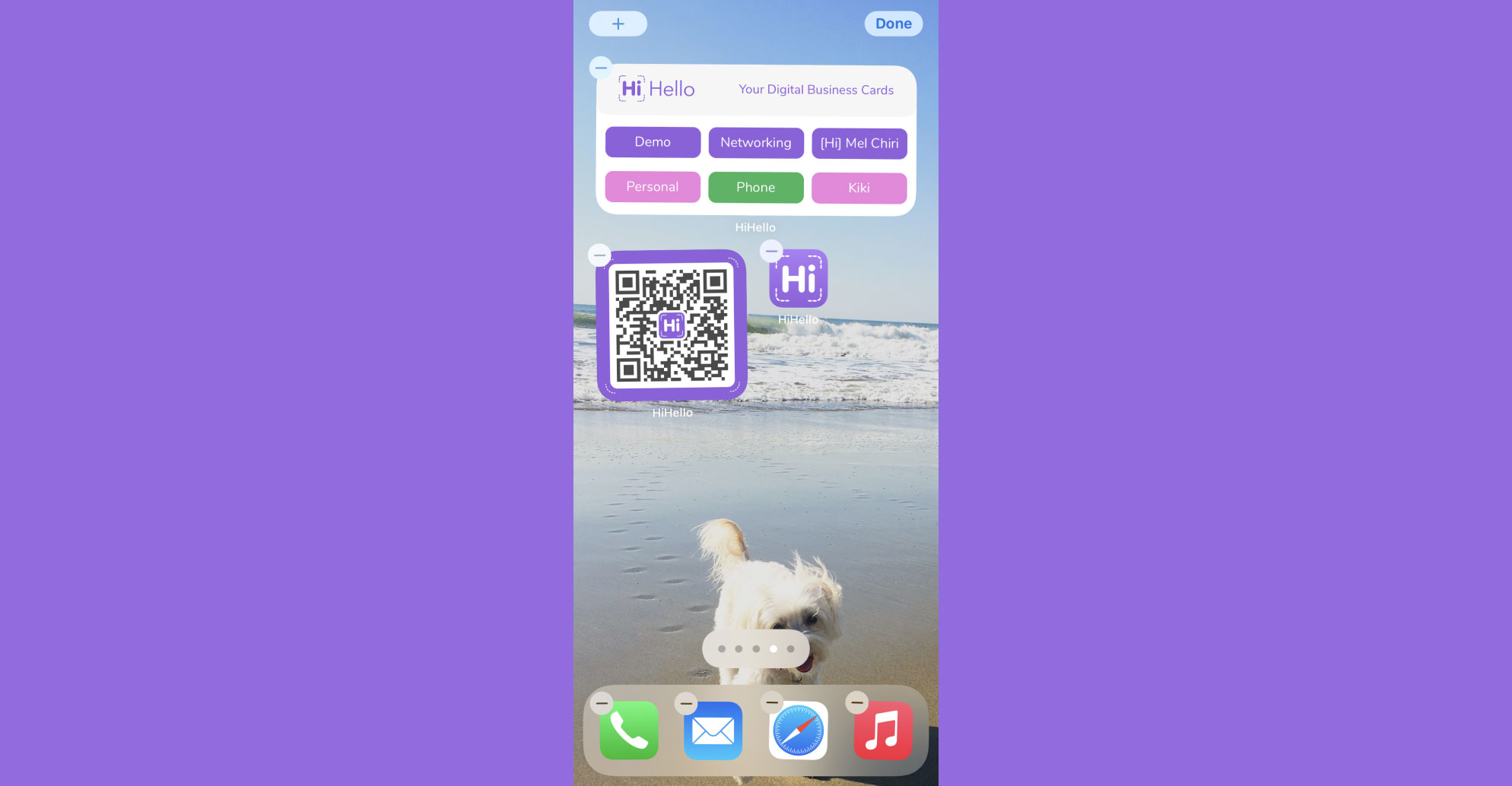 Your HiHello digital business card QR code widget and/or gallery widget should now be on your iPhone.
