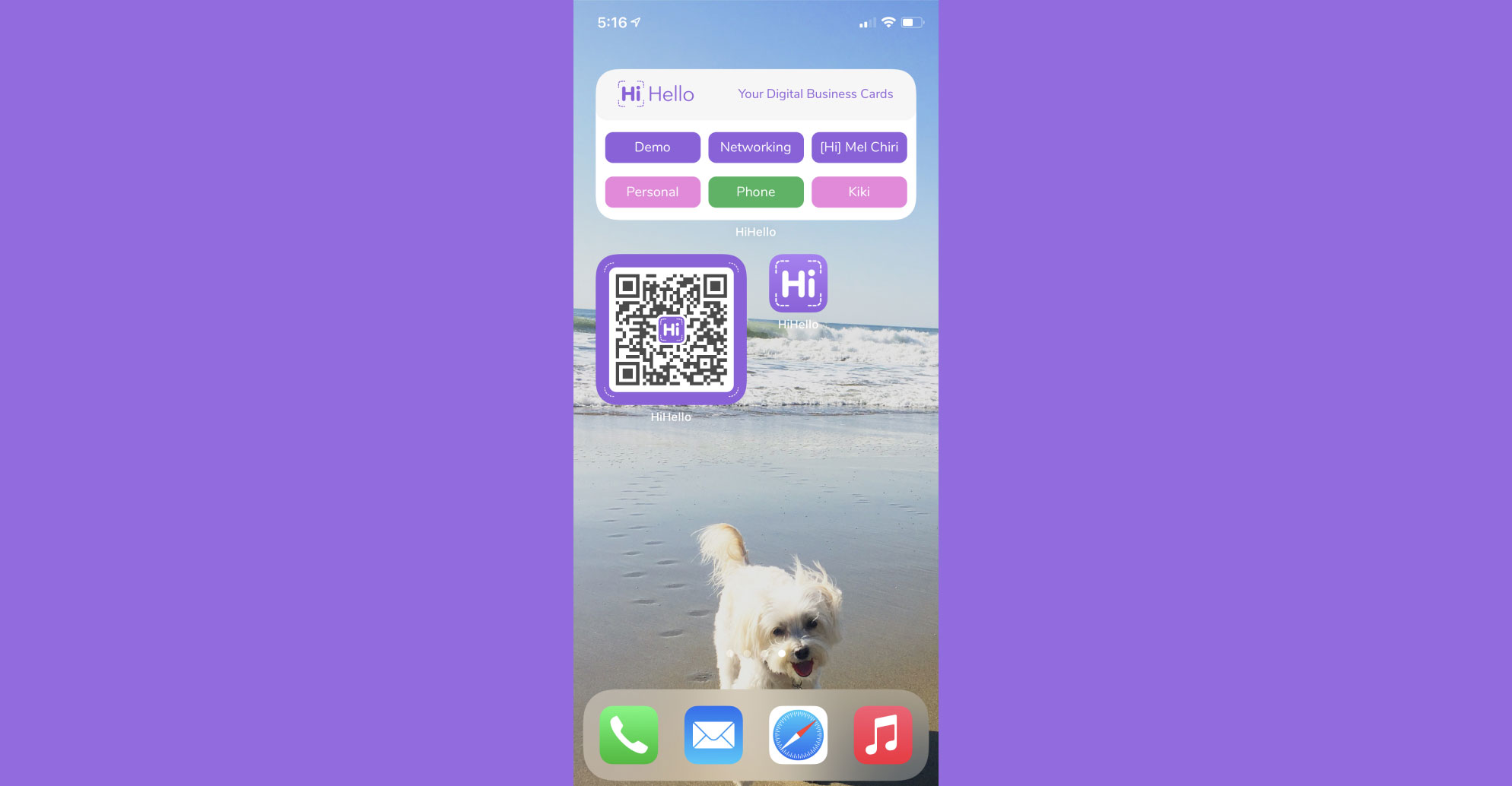 Start sharing your business card with your scannable QR code widget.