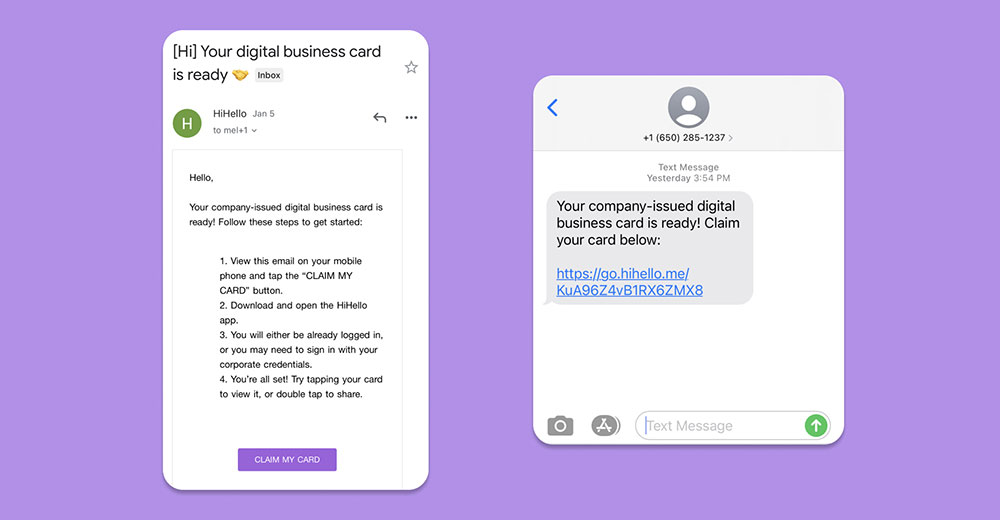 Claim your digital business card via email or text message