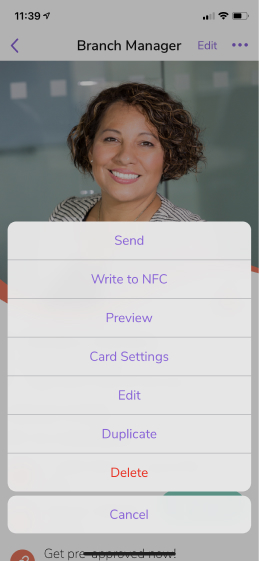 Personalize the link to your digital business card in card settings on the mobile app.