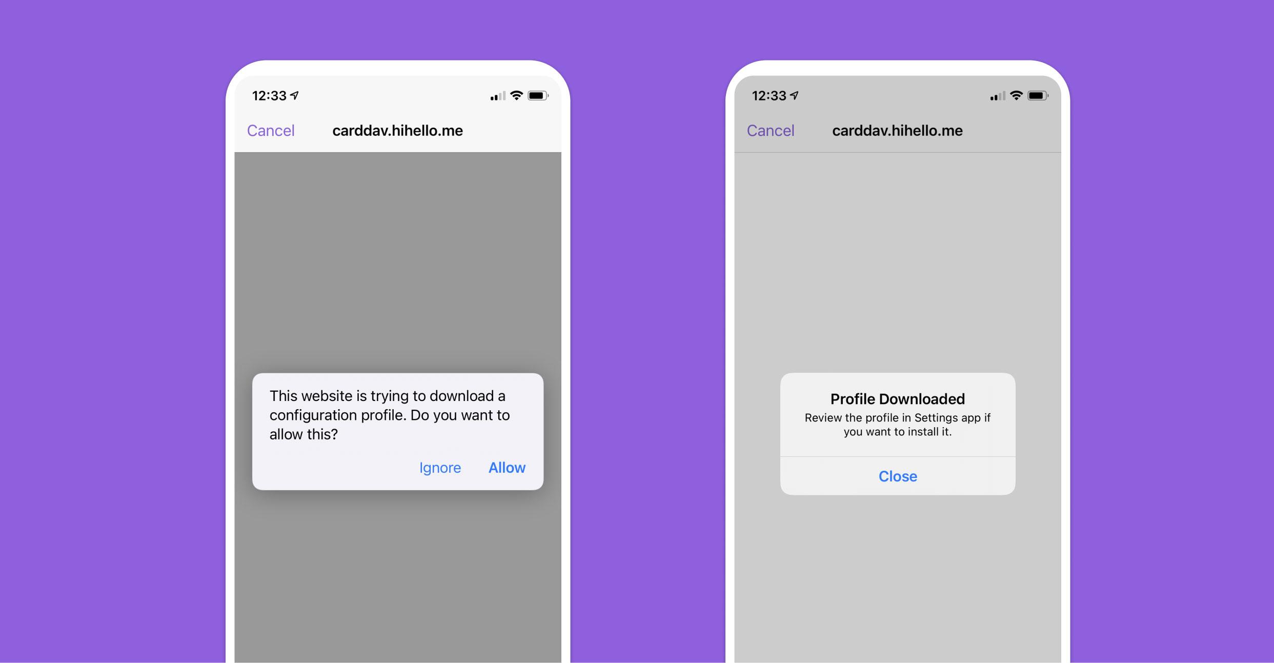 HiHello iOS app download configuration profile