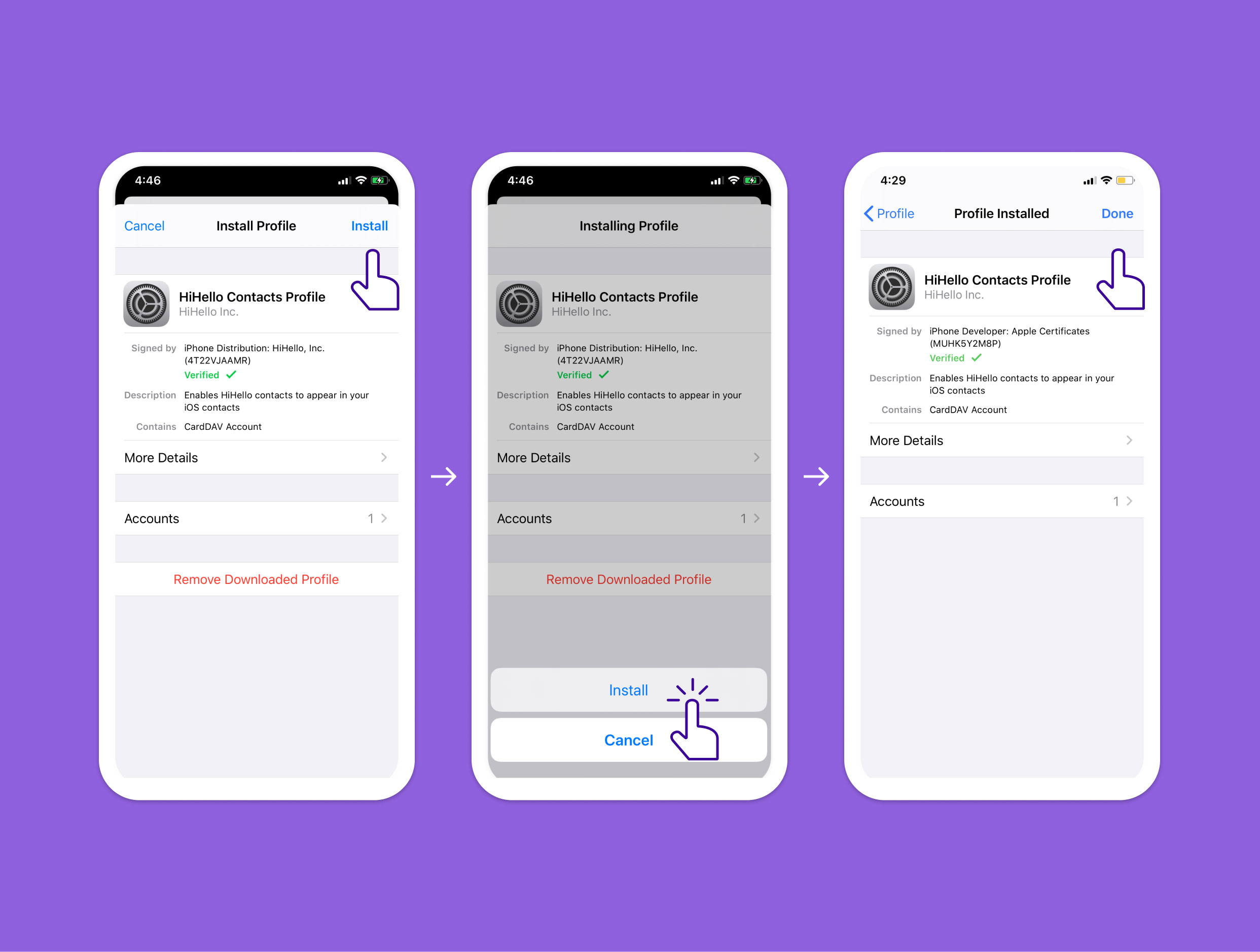 Install profile instructions on iOS