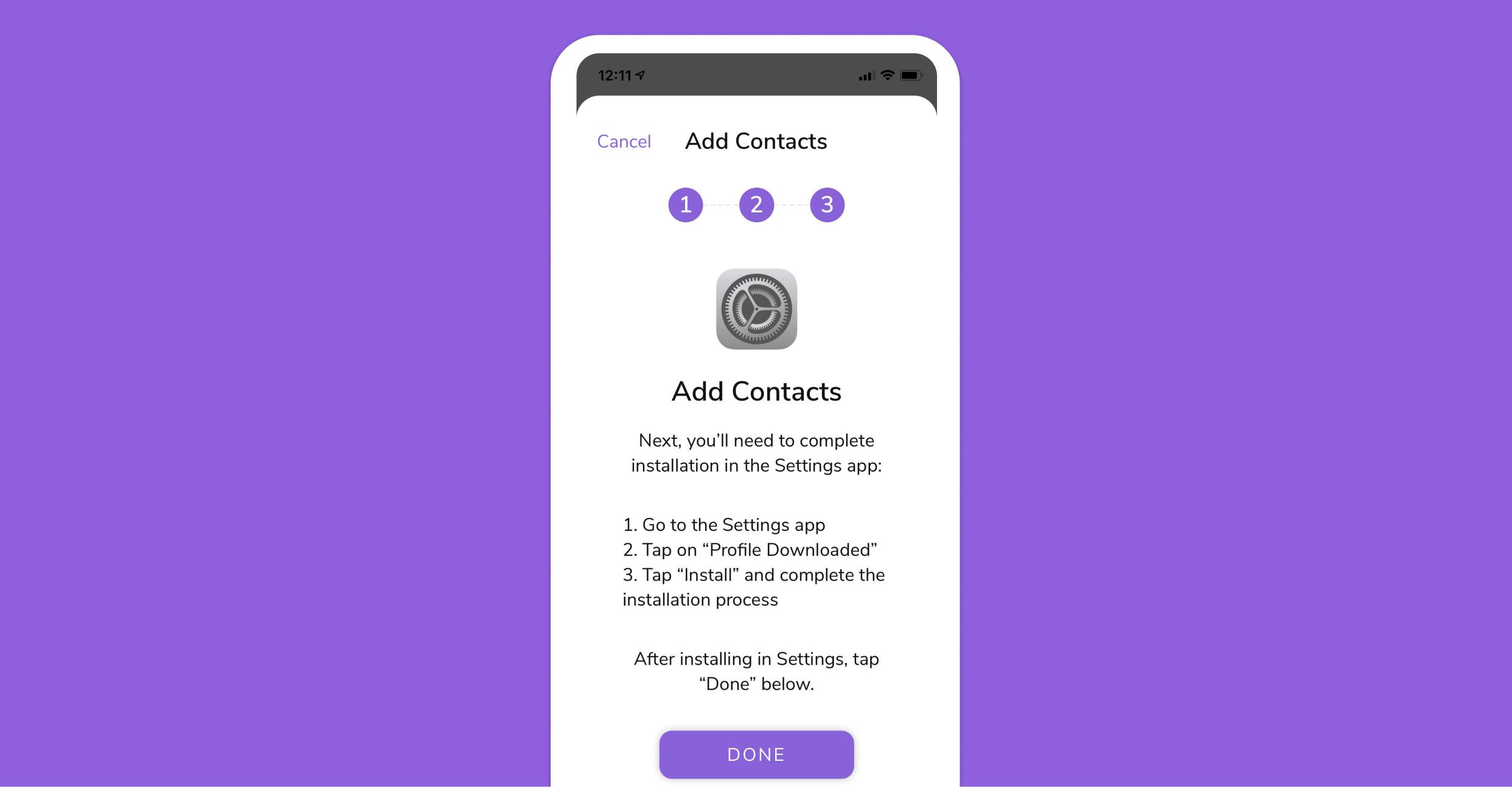 HiHello iOS app tap done
