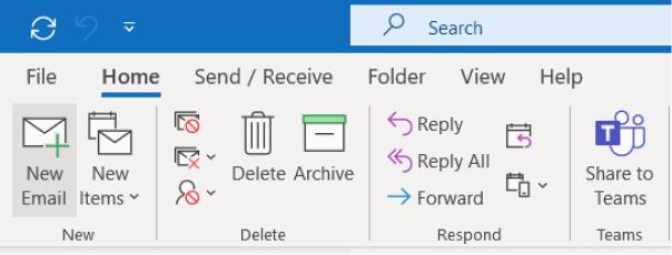 Outlook desktop new email