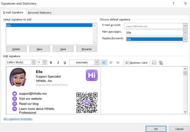 Outlook desktop choose default signature for HiHello email signatures