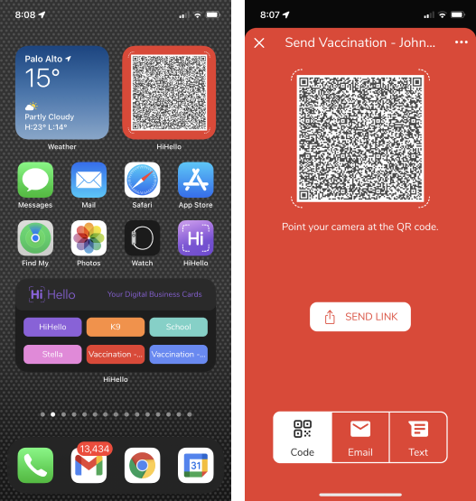 Show your COVID-19 vaccine verification QR code with the iOS and Android widgets.