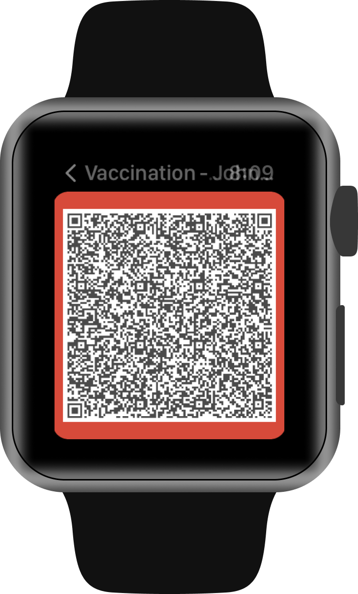 COVID-19 vaccine verification QR code on Apple Watch.