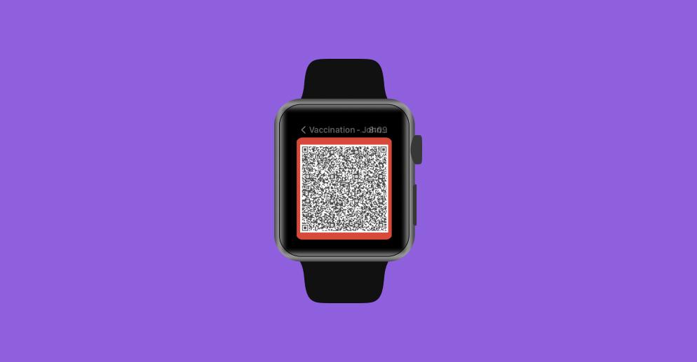 Digital COVID-19 vaccine record widget on an Apple Watch.