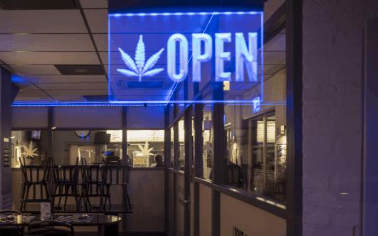 medical marijuana dispensary open sign