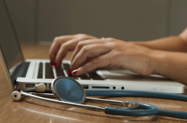 medical marijuana research on laptop