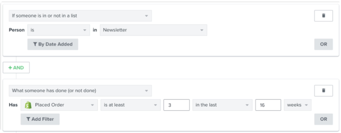 Compared to Klaviyo, the flows in Shopify Email aren't much