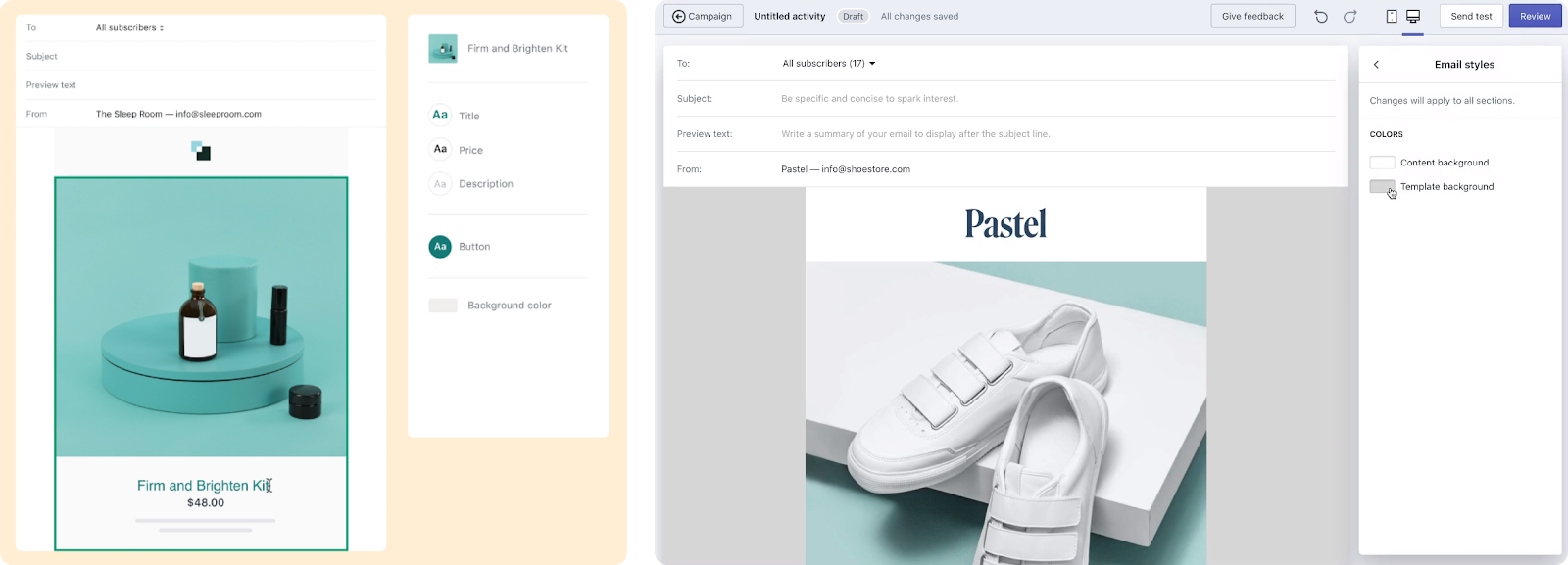 Shopify email is easy to use out of the box