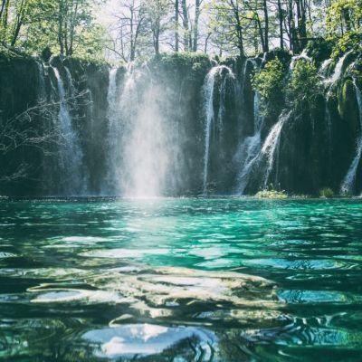 Beautiful flowing waterfall