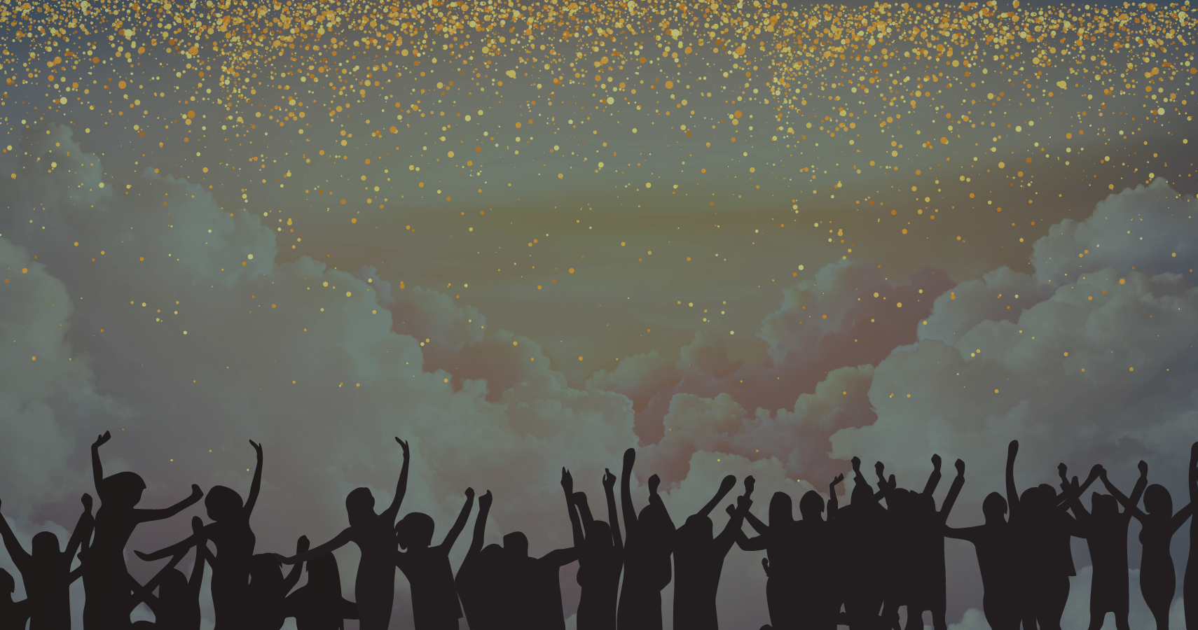 Banner of people partying under the clouds because why not