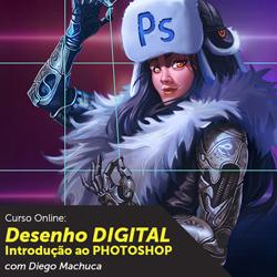 Imagem de uma personagem cyborg usando um chapeu de pelos escrito PS, na imagem está escrito DESENHO DIGITAL, INTRODUÇÃO AO PHOTOSHOP com Diego Machuca