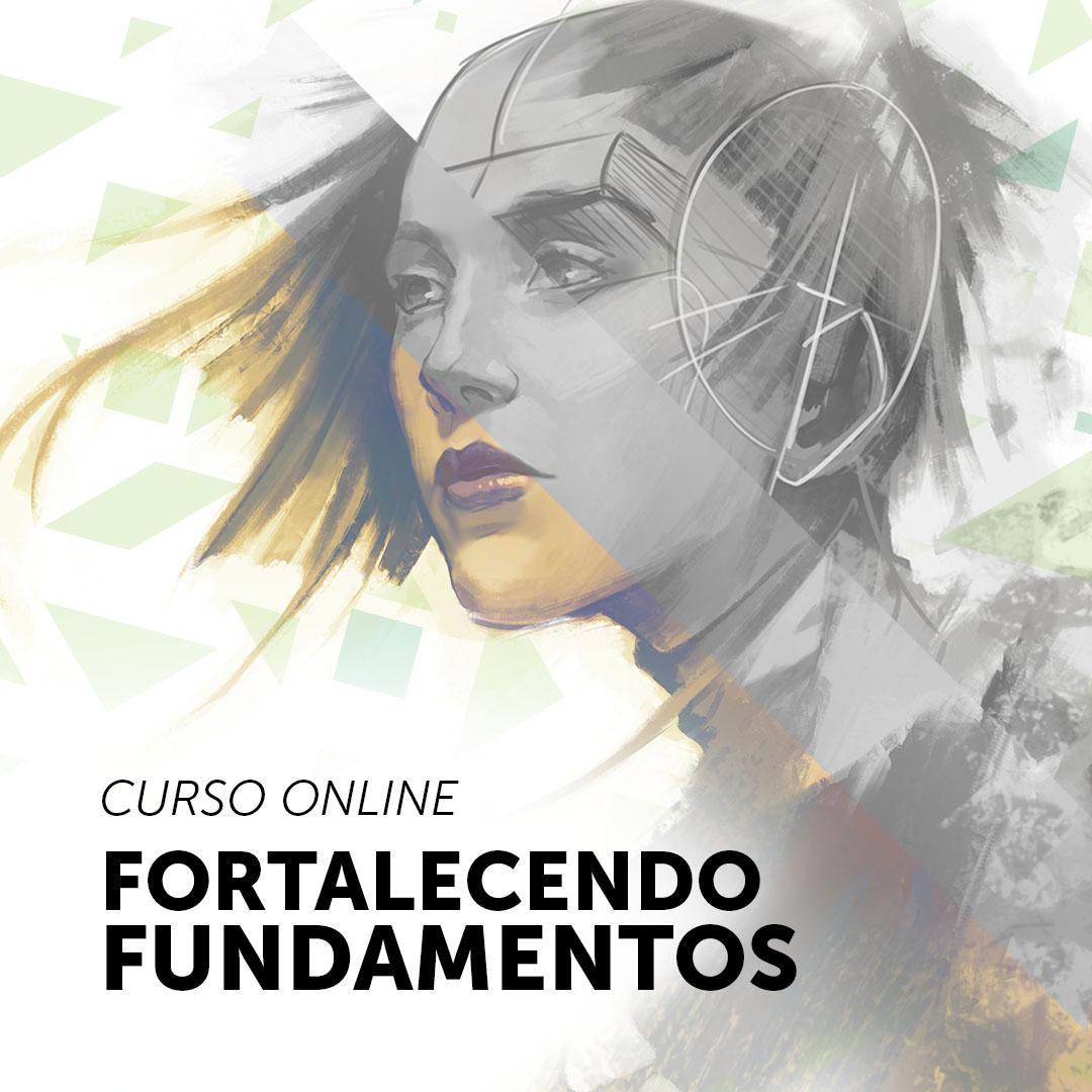 Ilustração feita de um rosto de uma mulher mostrando o processo da construção da estrutura de rosto, na imagem está escrito: CURSO ONLINE FORTALECENDO FUNDAMENTOS