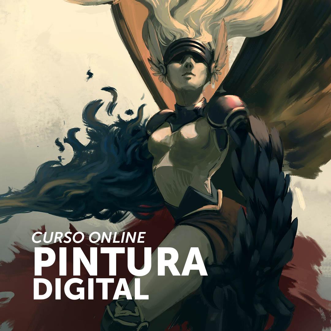 Pintura Digital de um anjo usando uma viseira de ferro, na imagem está escrito CURSO ONLINE PINTURA DIGITAL