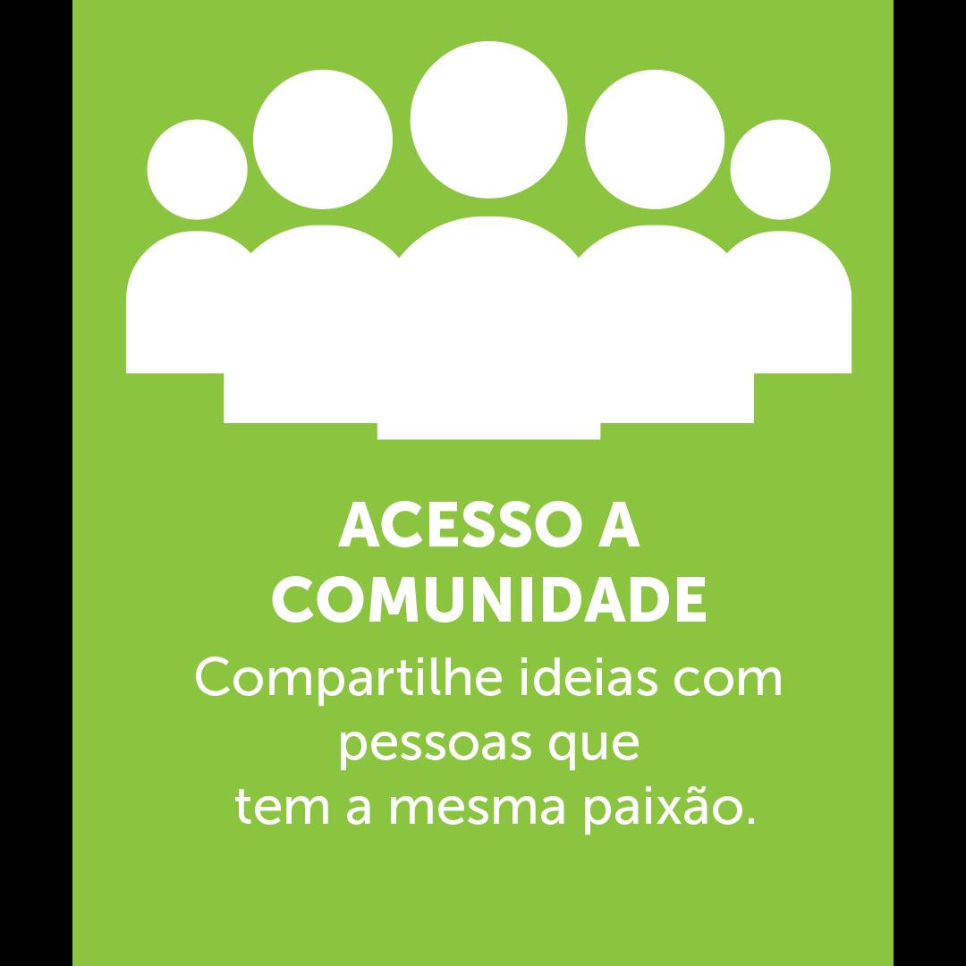 Ícone de várias pessoas juntas formando uma comunidade, em baixo esta escrito: ACESSO A COMUNIDADE Compartilhe ideias com pessoas que  tem a mesma paixão.
