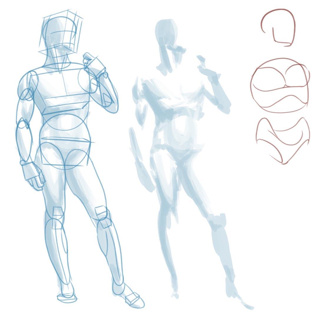 Exemplos de estudos de desenho feito por um de nossos alunos