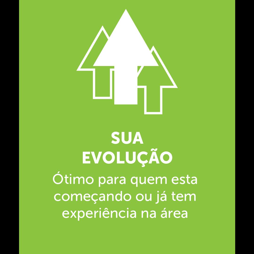 Icone de três setas apontando para cima, em baixo está escrito: SUA EVOLUÇÃO