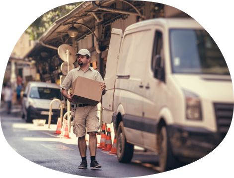 A courier delivering a package