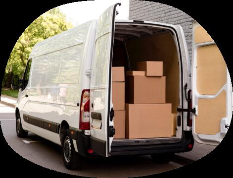 A van full of boxes.
