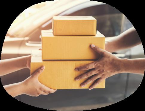 A courier delivering a parcel