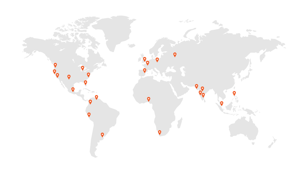 Map with all locations where Transcend Fellows are located in.