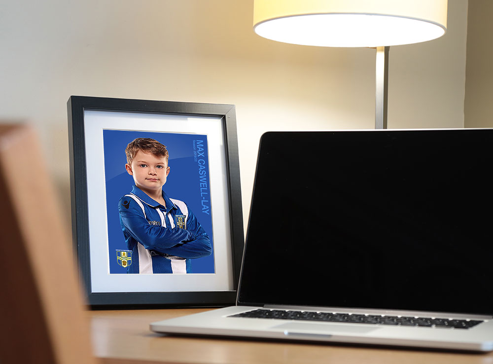 Football Player Photograph with club badge and name in a picture frame