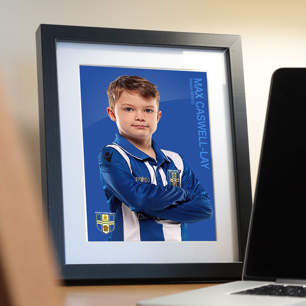 Football Player Photograph with club badge and name in picture frame