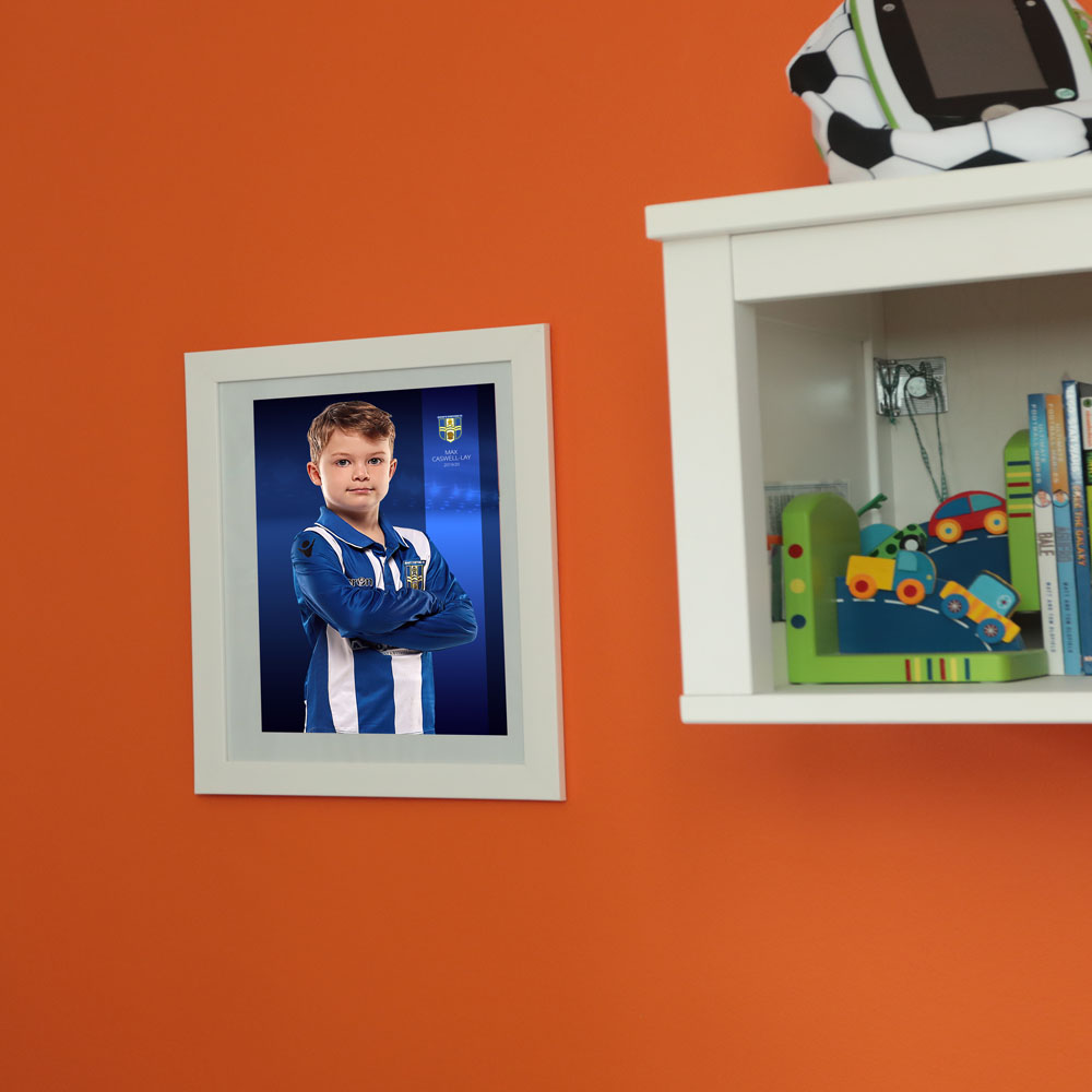 Football Player Photograph with club badge and name in wall frame