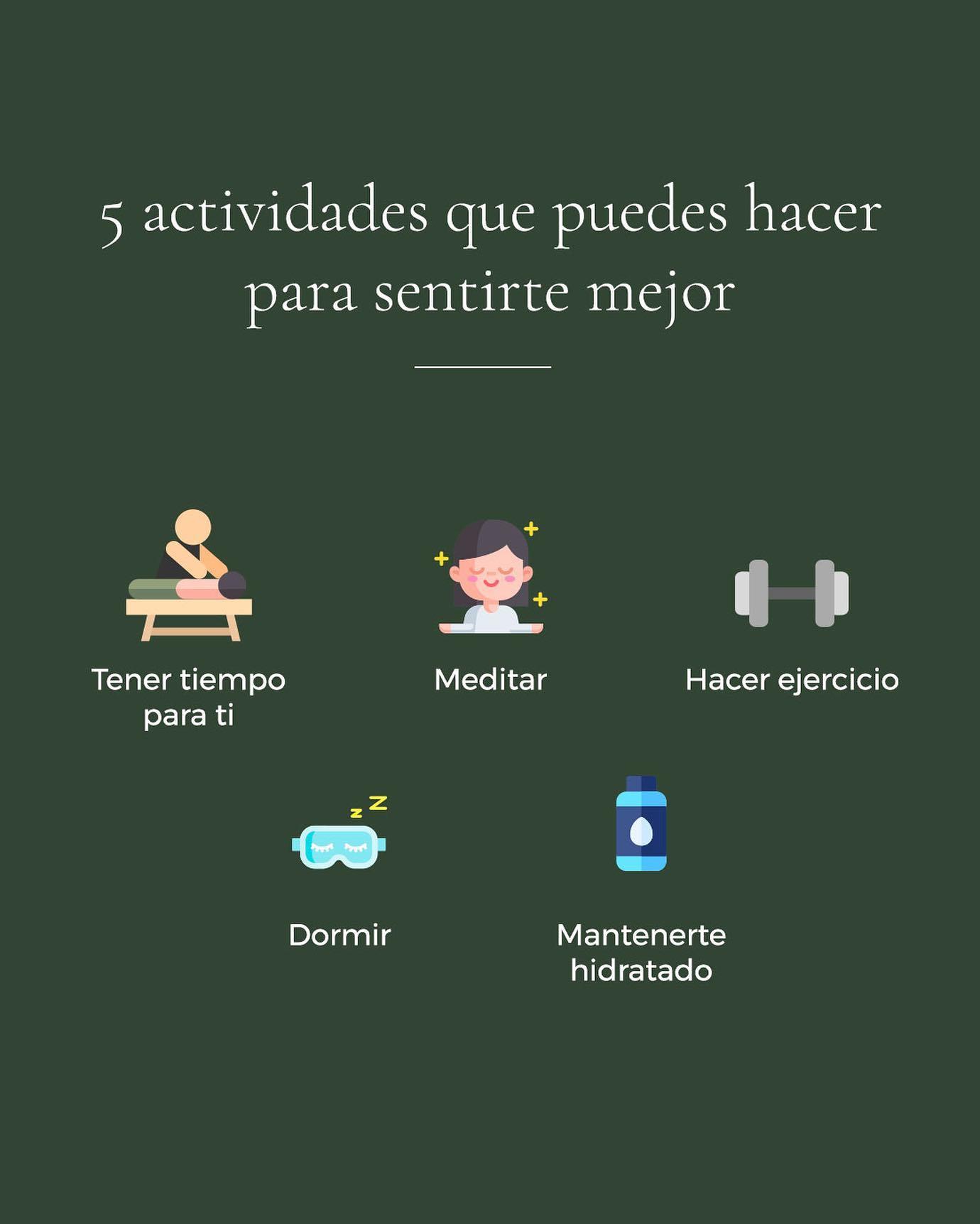 No importa si son 5 minutos o 1 hora. Dedicar un momento para practicar alguna de estas 5 actividades, te hará sentir mejor y