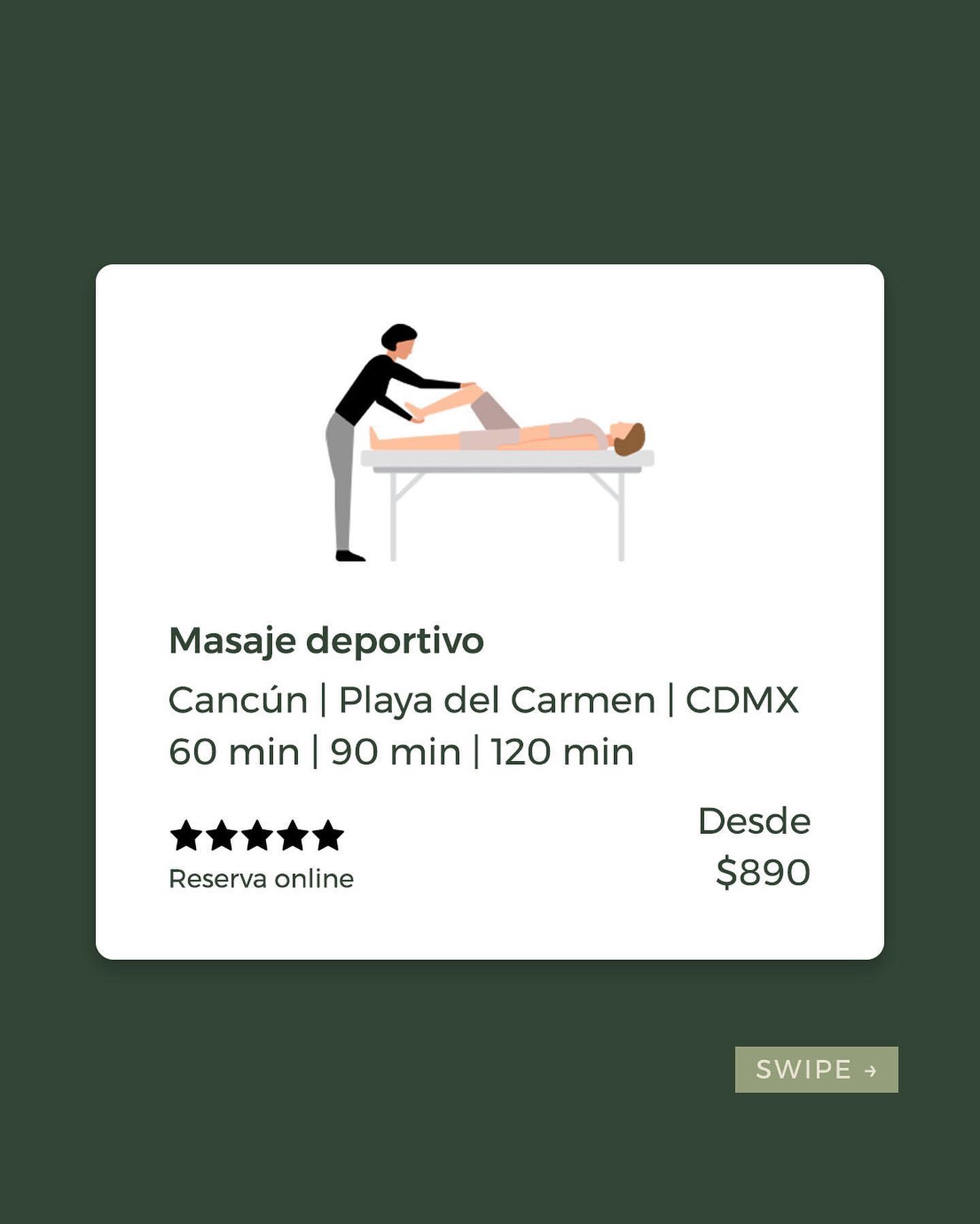 ✨Masaje deportivo 👉🏼 Descontractura tus músculos y optimiza tu rendimiento físico.  🙌🏼Desde $890 pesos por 60 minutos. 📍