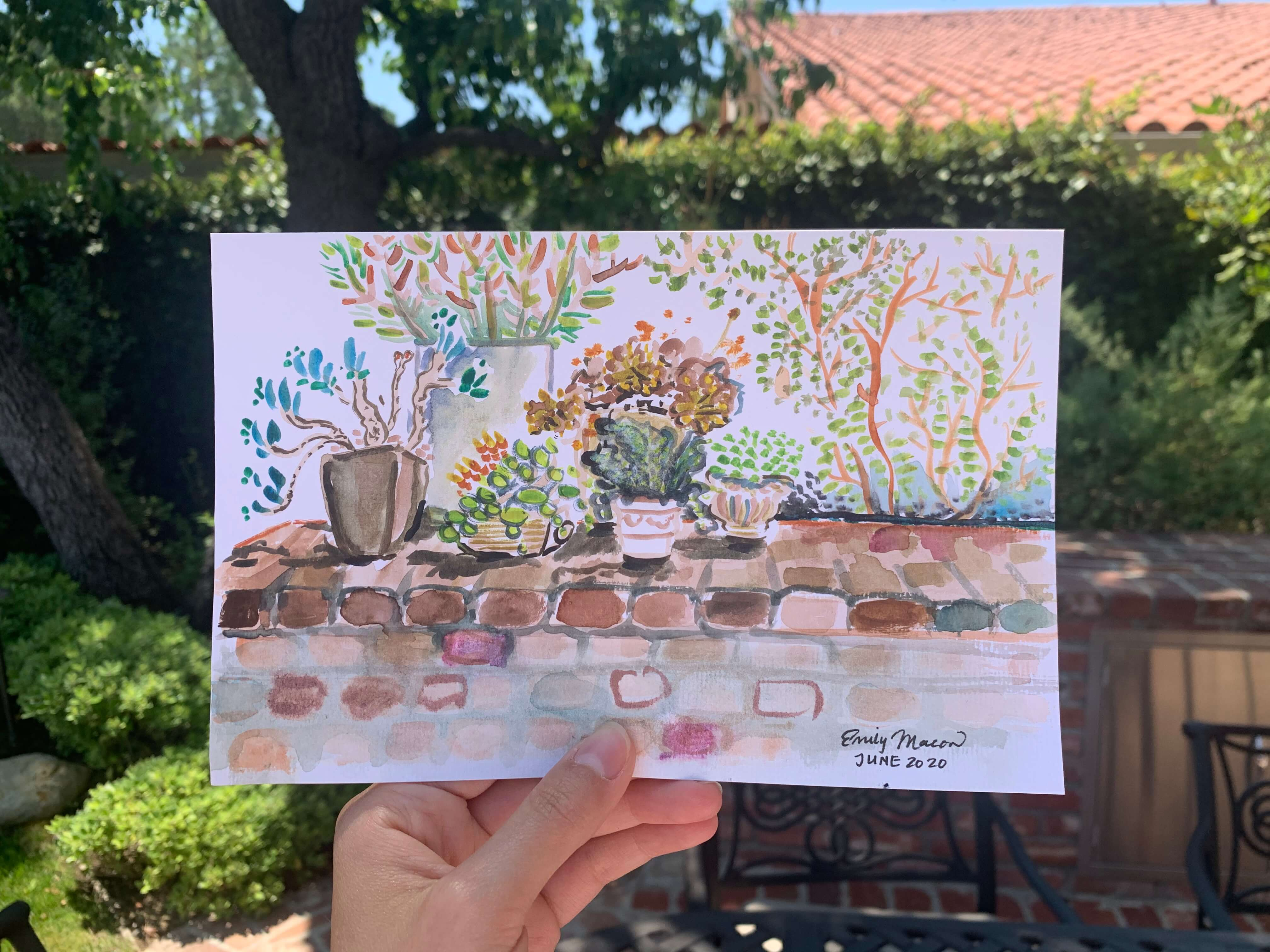 Quick Watercolor By The Pool