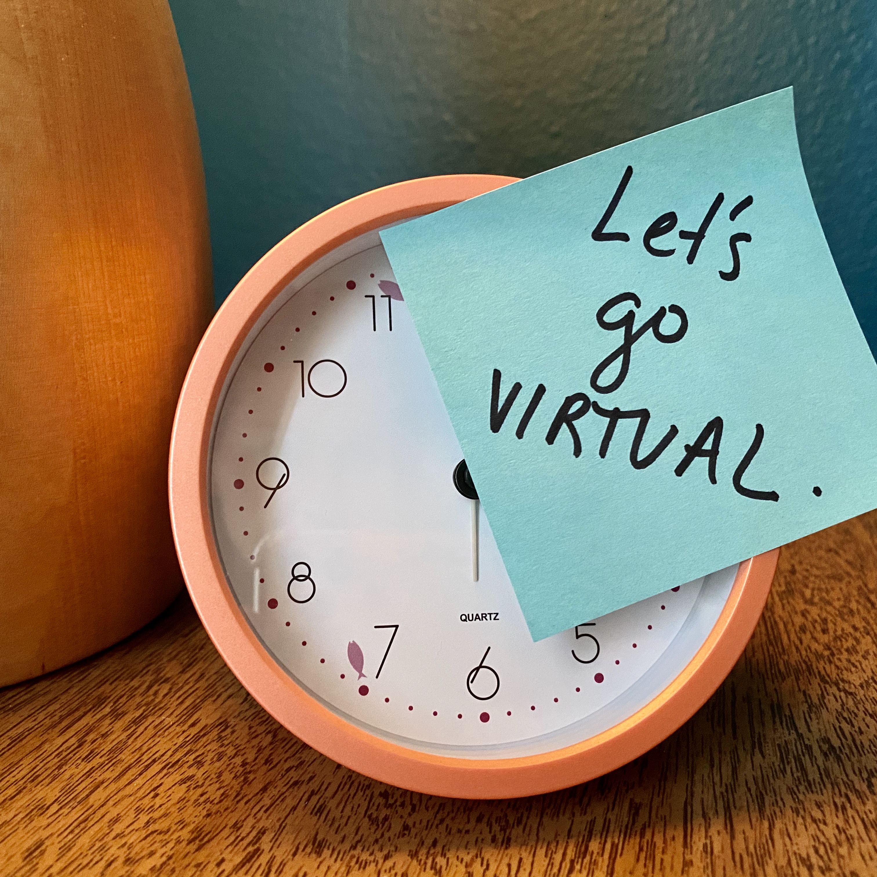 Let's Go Virtual Post-It on Clock: Time for virtual content strategy conferences