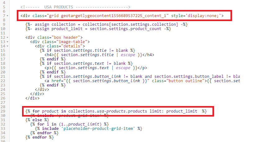 Add the geo content classes to the Shopify grid and set the for loop to display collections from the geo targeted location