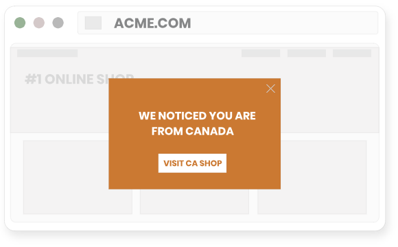 Prompt visitors to switch to a local or regional site