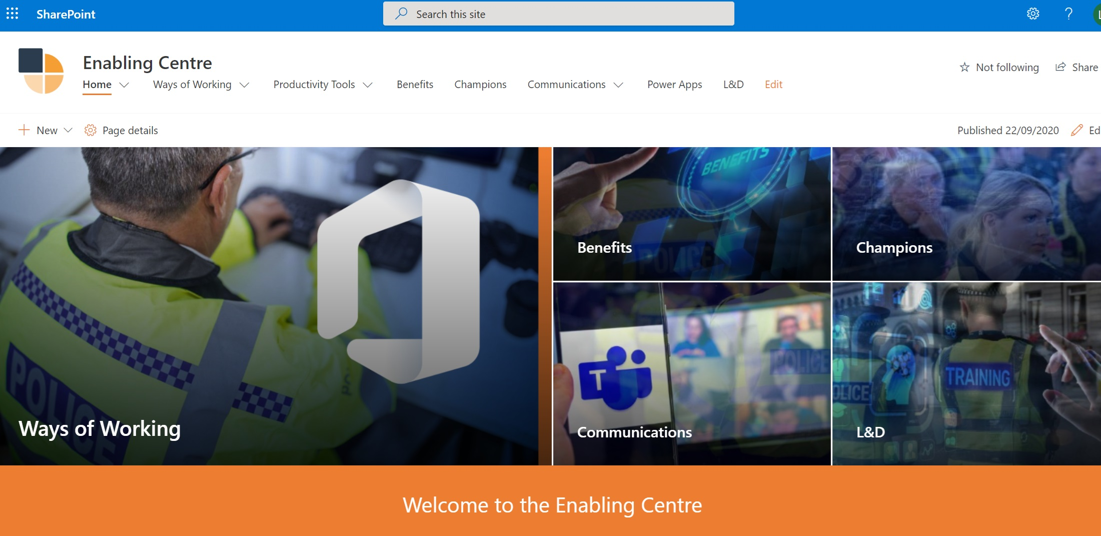 Screen shot of the Enabling Centre
