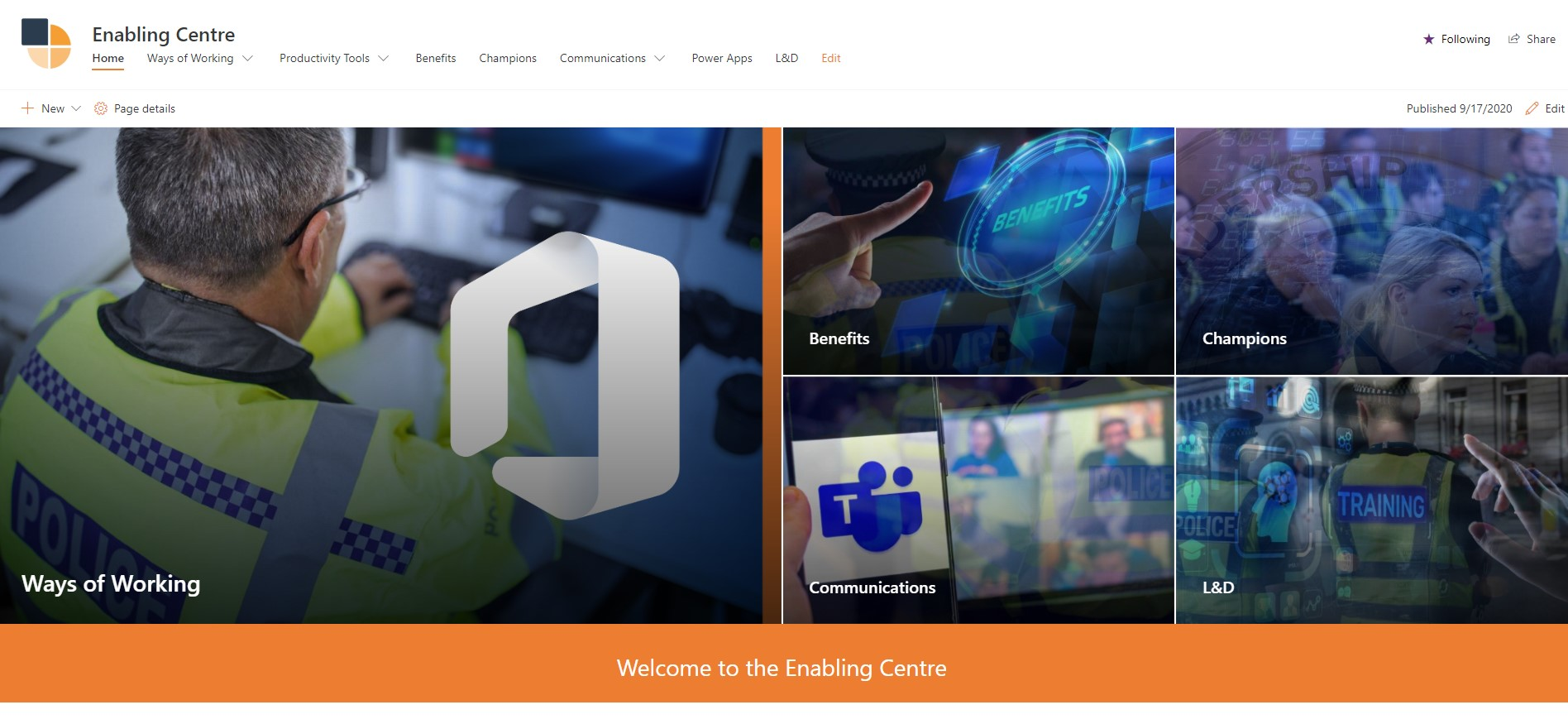Screenshot of the Enabling Centre