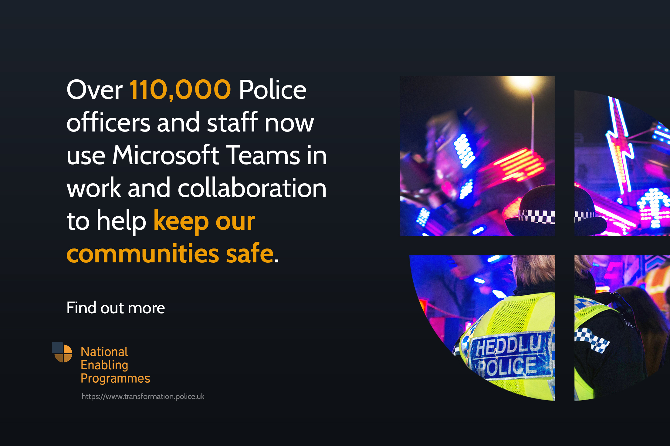 Infographic showing over 110,000 police officers and staff are using the Microsoft tools from the NEP