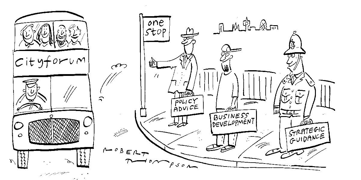 Cityforum Cartoon showing a bus approaching a bus stop with a police officer, it developer and policy waiting to board