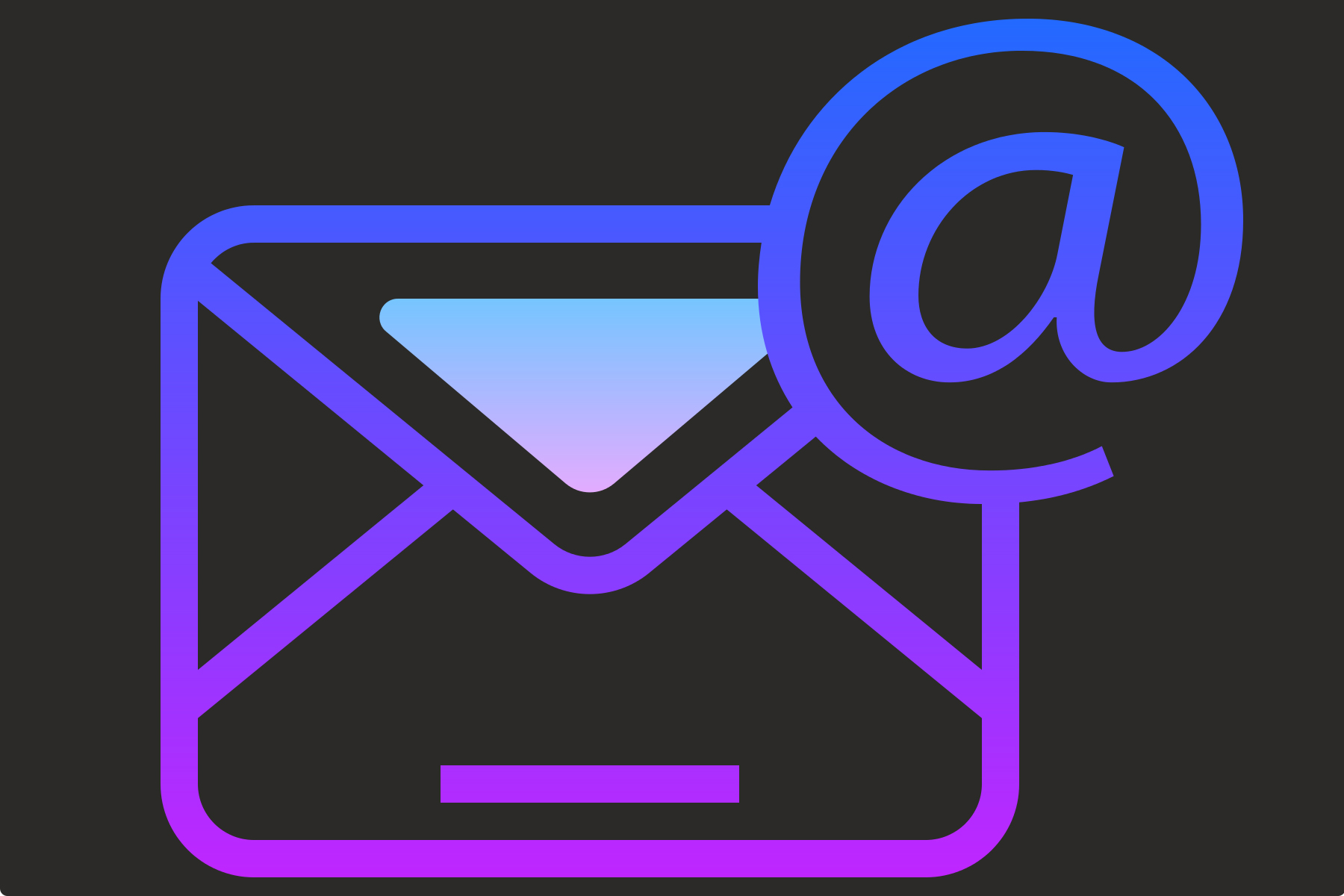 Icon for email coloured purple on a grey background