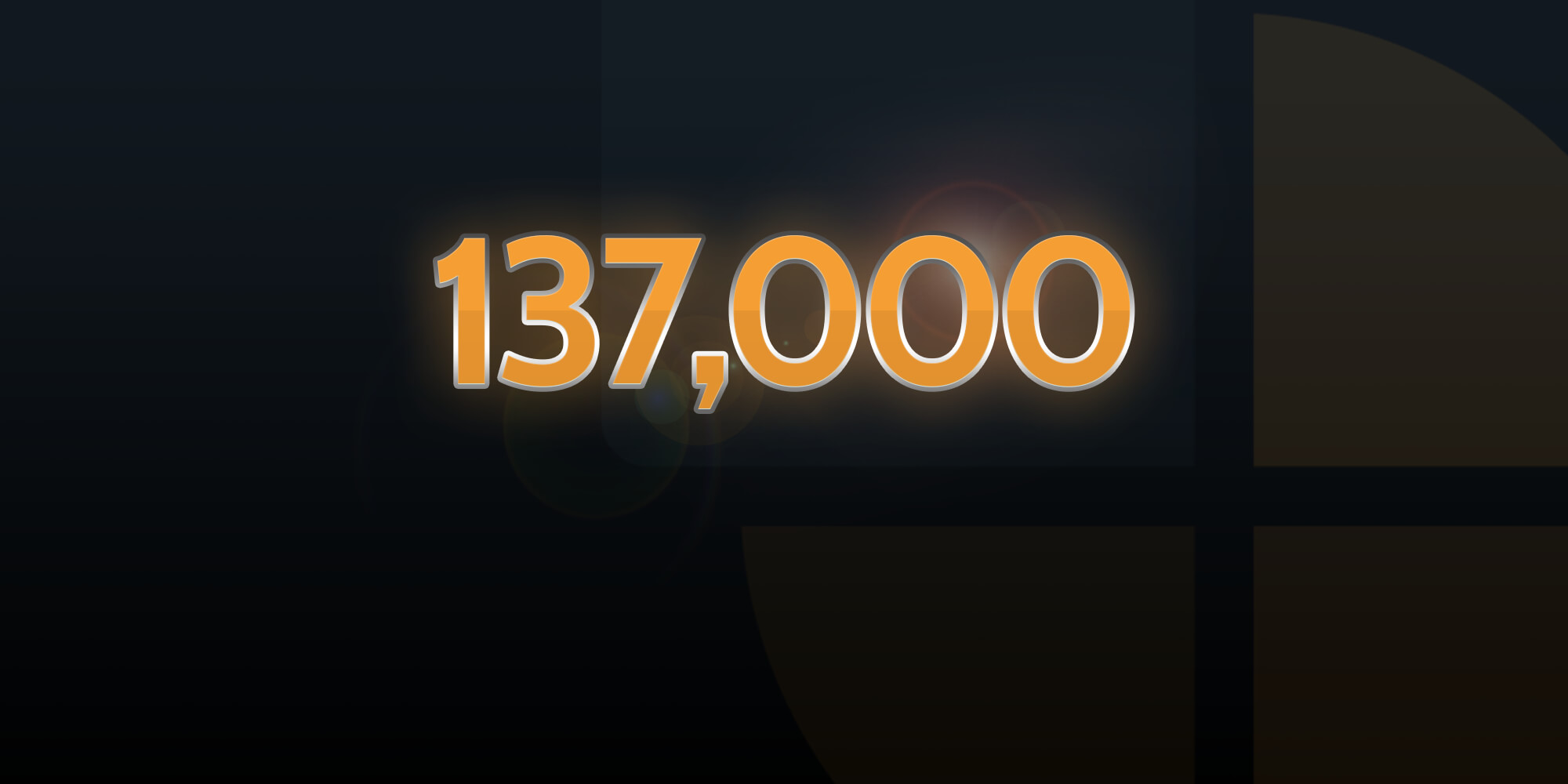 NEP Graphic representing that 137000 users access the platform in March 2021 - The image is a black background with orange text.