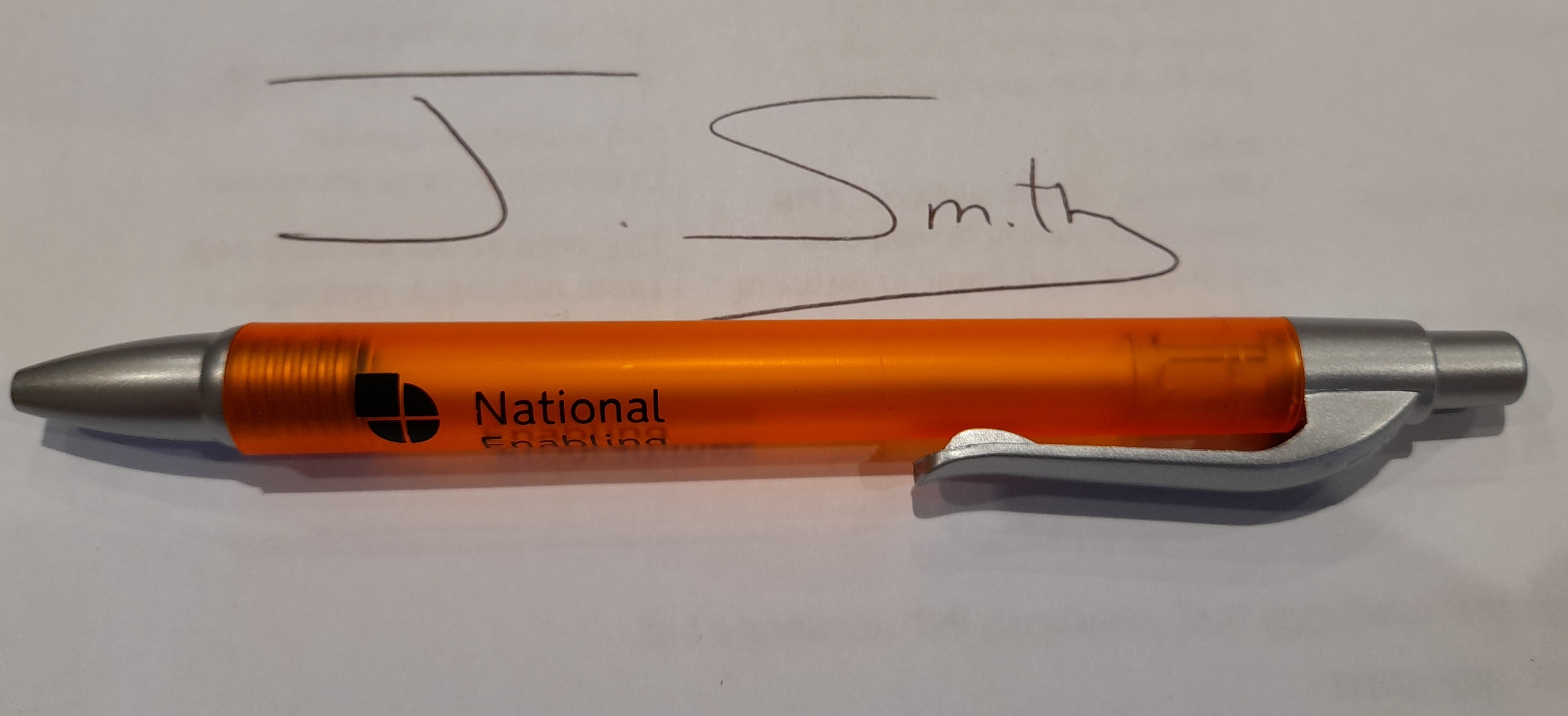 Pen and signature of J Smith