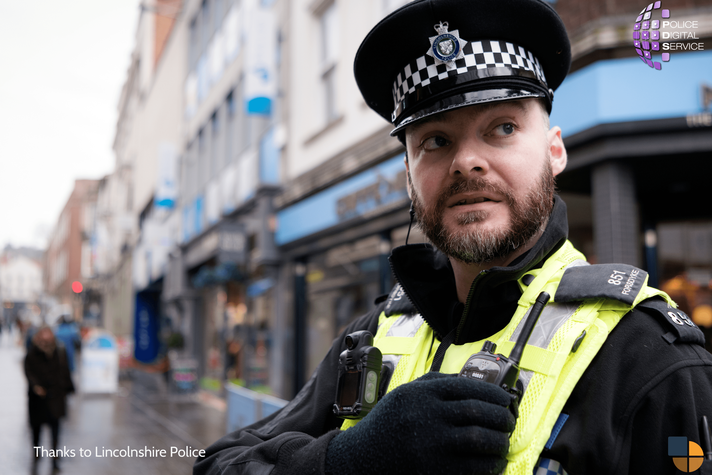 Stock Photo of a Linc's Police officer in uniform in a town centre