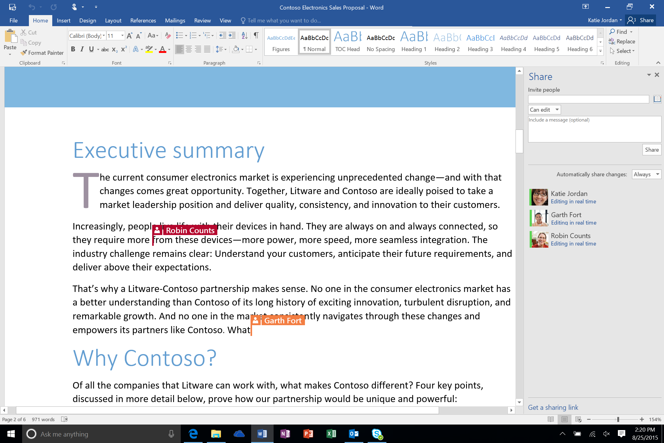 Screenshot of co authoring an MS word document