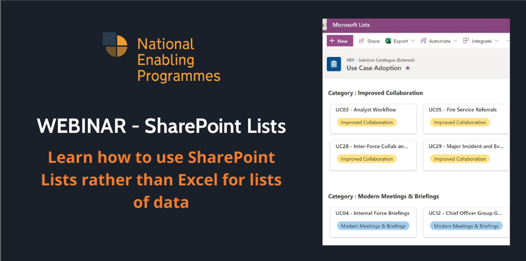 Banner promoting the use of SharePoint Lists
